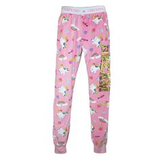 These super soft pajama pants will keep you comfortable all year long. The lightweight fabric is plush and soft without bulk. The left leg has a sparkling sequin accent. Let all of your dreams come true with these luxuriously soft print jogger lounge pants.