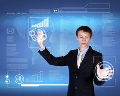 Business Person Working With Modern Virtual Technology Information Concept