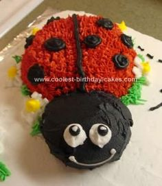 Homemade Ladybug Birthday Cake: I had so much fun making this adorable Homemade Ladybug Birthday Cake for my daughter's first birthday. It is an 11x15 white cake (2 cake mixes) baked
