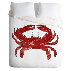 Coastal Cool! Red Crab Duvet Cover in a coastal watercolor design. Add a pop of color to your beach bedroom decor. Available in Twin/Queen/King