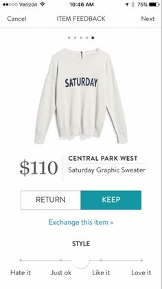 Central Park West Saturday Graphic Sweater - $110.00