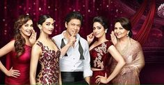 (From Left) Madhuri Dixit,  Deepika Padukone Shah Rukh Khan, Sridevi and Sharmila Tagore For #LuxRoseGold