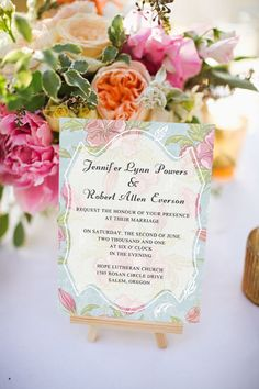 shabby chic pink and blue floral spring wedding invitations