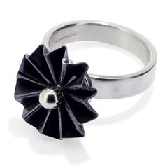 Small Oxidised Silver Rosette Ring