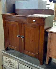 Wood Pinned Beautiful Dry Sink   Primitive, Old, Antique | EBay