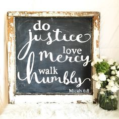 """A perfectly chippy, farmhouse take on a deep scripture. This sign comes to you all, 28"""" x 28"""" inches of glorious maple wood framed in an antique window."""