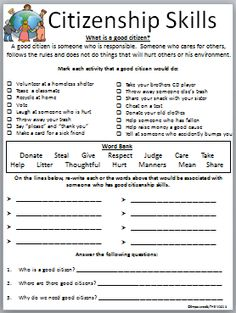 Worksheet Good Citizenship Worksheets life skills and worksheets on pinterest citizenship worksheet
