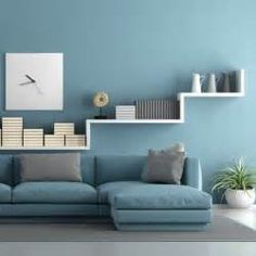 Floral- blue-living-room--- Blue