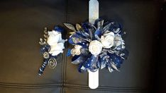 Prom Royal blue and silver prom corsage by LisasHenHouseDesigns