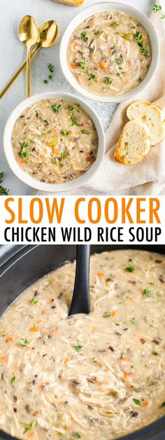 This thick and creamy Crockpot Chicken Wild Rice Soup is made with no dairy or gluten! This easy and nourishing healthy soup will be your new favorite weeknight dinner. Perfect for meal prep too! Creamy Crockpot Chicken, Creamy Chicken And Rice, Chicken Wild Rice Soup, Chicken Soups, Chicken Cooker, Slow Cooker Recipes, Cooking Recipes, Healthy Recipes, Soup Crockpot Recipes