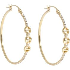 HOORSENBUHS Diamond & Gold Tri-Link Hoops (4,760 CAD) ❤ liked on Polyvore featuring jewelry, earrings, accessories, gioielli, colorless, pave diamond earrings, 18k earrings, 18k diamond earrings, 18k gold earrings and 18 karat gold earrings