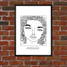 *** BUY 4 PRINTS, GET A 5th FREE***  (Simply buy 4 prints of the same size and then send me a message to let me know which poster youd like as your 5th) A poster featuring the badly drawn face of Madonna.   Two sizes available:  8 x 12 inch (A4) or  11.7 x 16.5 inch (A3)   Simply select your preferred size in the drop down menu.   Some details  A4 posters - Printed on 220 GSM card. - Encased in a protective cellophane sleeve. - Delivered in a hard-backed envelope to help against any damages…