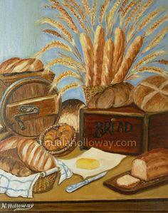 """""""Bread and Butter"""" by Nuala Holloway - Oil on Canvas #OilPainting #StillLife #IrishArt Irish Art, Oil On Canvas, Still Life, Butter, Bread, Still Life Drawing, Breads, Baking, Oil Paintings"""