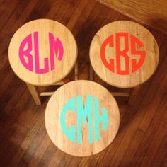 What do you do with naked bar stools? Put a monogram on them! Contact Sassy Boutique  (772-234-3998) for all your vinyl monograming!