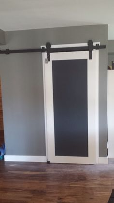 Custom Barndoor sliding hardware to slide under beam. All handmade right here in the Okanagan by GOATGEAR. Interior Sliding Barn Doors, Closet Doors, Laundry Room, Beams, Chalkboard, Hardware, Curtains, Furniture, Design