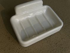 Vintage / Antique White Porcelain Wall Mount Soap Dish with mounting bracket #unknown