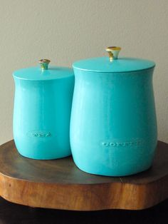 A vintage turquoise canisters made by PLAS-TEX ...