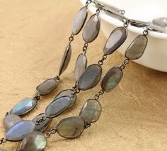 Flashy Blue Labradorite Oval Shape Bezel Chain in Antique Finish,Fancy Cut Chain 9x12 mm, Sold as Foot, (GMC/LAB/359)