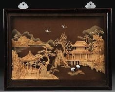 JAPANESE CARVED CORK AND WOOD DIORAMA, MID 20TH