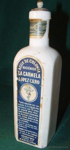 AGUA DE COLONIA LA CARMELA - LOPEZ CARO - BARCELONA - OPALINA VACIA - FARMACIA  PERFUMERIA ----------  estalcon@gmail.com