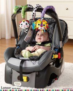 Lamaze Activity Spiral Toy can be attached to anything - like your car seat #babyshowergifts #educationaltoys #babytoys