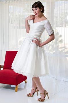 Wedding Gown Gallery, Wedding Gowns, Bridal Dresses, Vintage Inspired Dresses, Vintage Dresses, Lace Dress, White Dress, Tea Length Wedding Dress, Types Of Dresses
