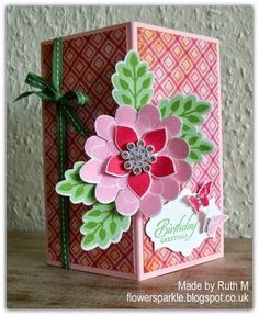 Flower Sparkle: Stampin' Up! Flower Patch Floating Front Birthday Greetings Card, Flower Fair framelits, photopolymer