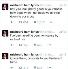 Misheard Hamilton lyrics- tbh I have thought the lieutenant turtle one
