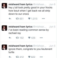Misheard Hamilton lyrics- tbh I have thought the lieutenant turtle one