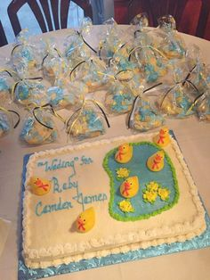 Wading for baby rubber ducky themed baby shower cake