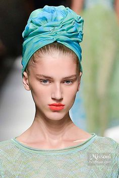 Missoni Spring 2015 - Rocking an Aqua Green Hair Turban