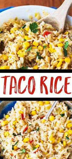 Taco Rice - This flavorful rice is a wonderful side dish, taco filling, or burri. - Taco Rice – This flavorful rice is a wonderful side dish, taco filling, or burrito filling. Made - Taco Side Dishes, Mexican Side Dishes, Mexican Rice Recipes, Rice Recipes For Dinner, Side Dish Recipes, Food Dishes, Vegetarian Recipes, Healthy Recipes, Side Dish For Tacos