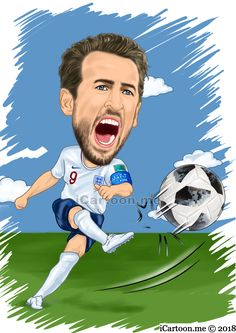 Harry Kane in the world cup 2018 soccer caricature
