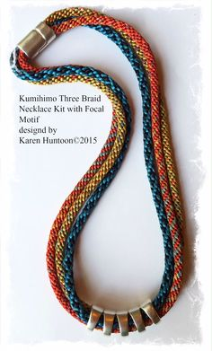 Kumihimo Three Braid Necklace with Focal Motif