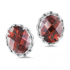 Sterling Silver Garnet Stud Earrings   Warm red garnet stud earrings with elegant detailing in sterling silver.   Colore SG