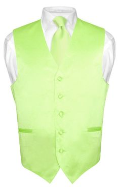 Men's Dress Vest NeckTie LIME GREEN Neck Tie Set for Suit or Tuxedo Small