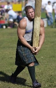 Because wood carrying is a serious (and seriously interesting) competition in the Highland Games.