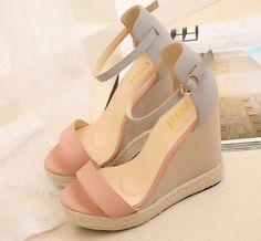 Women 2014 new fashion summer shoes wedge high heels platform sandals pink