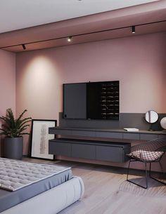 Hotel bedroom design - A Striking Example Of Interior Design Using Pink & Grey