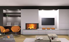 Houthaard met TV-meubel - Van Raemdonck Haarden