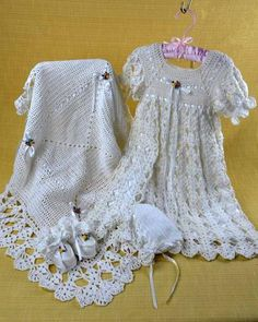 """Watch Maggie review this adorable Blessed Christening Set! Designed by: Maggie Weldon Skill Level: Intermediate Size: Afghan: 31"""" square; Gown, Booties & Bonnet: Newborn Materials: Crochet Cotton Thre"""