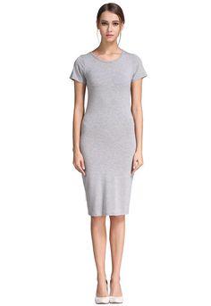 B&N Women Modal Casual Solid Classic Slim Fit Short Sleeve Bodycon Midi Dress