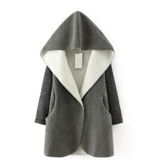 SheIn(sheinside) Grey Hooded Sweater Long Sleeve Loose Coat (55 BRL) ❤ liked on Polyvore featuring outerwear, coats, jackets, sweaters, grey, hooded coat, collar coat, long sleeve coat, grey hooded coat and short coat