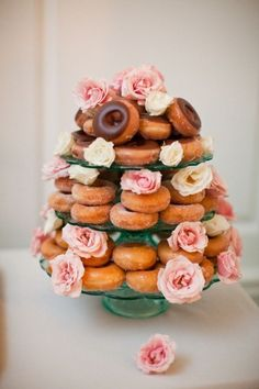 Inspired to have donuts at a tea party. 20 Bridal Brunch Ideas for a Perfect Party with the Girls - wedding dessert idea; Photo: MegRuth Photo via Elizabeth Anne Doughnut Wedding Cake, Wedding Donuts, Doughnut Cake, Krispy Kreme Donut Cake, Doughnut Stand, Krispy Kreme Wedding Cake, Macaroons Wedding, Doughnut Holes, Baby Shower Brunch