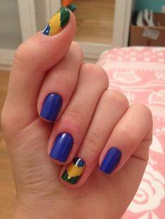 My Brazil nails for the world cup ! Vamo Brasil