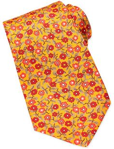 All about the Floral Print. Kiton Printed Floral Silk Tie, Orange - 25% off, now $221.25 @ #NeimanMarcus #Kiton