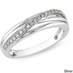 Enjoy the multi-band look with this crossover designed ring. With a curved center encrusted with shimmering diamond accents, this sterling silver ring is available in silver, yellow, or pink toned pol