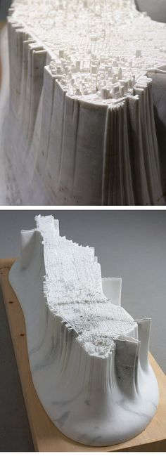 Yutaka Sone - Little Manhattan (2011) - 2.5 tons of marble carved into a precise model of Manhattan