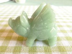 Hand Carved Green Jade Stone Flying Pig with Wings Figurine Pig Stuff, Flying Pig, Jade Stone, Jade Green, Pigs, Cincinnati, Hand Carved, Dinosaur Stuffed Animal, Carving