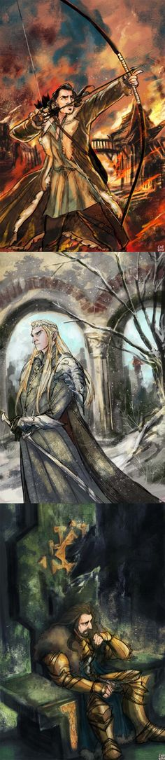 The Hobbit: The Battle of the Five Armies (Bard, Thranduil, and Thorin) by ewebean #hobbit #fanart
